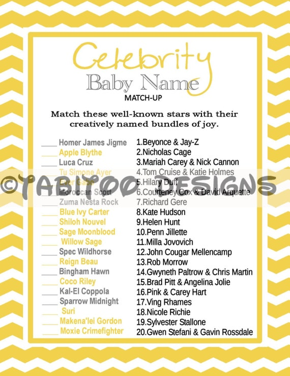 7 Best Celebrity Baby Name Match Up Baby Shower Games ...