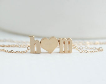 Love necklace, initial heart necklace, Couples necklace, Initial Necklace,  Gold Necklace