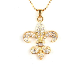 Crystal Fleur de lis Necklace in Silver or Gold
