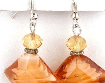 Orange glass earrings - orange, crystal, earrings, beaded earrings,