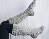 Chunky knit knee high house wool socks in marble//the CADDO socks//grey tweed MADE to ORDER custom color available