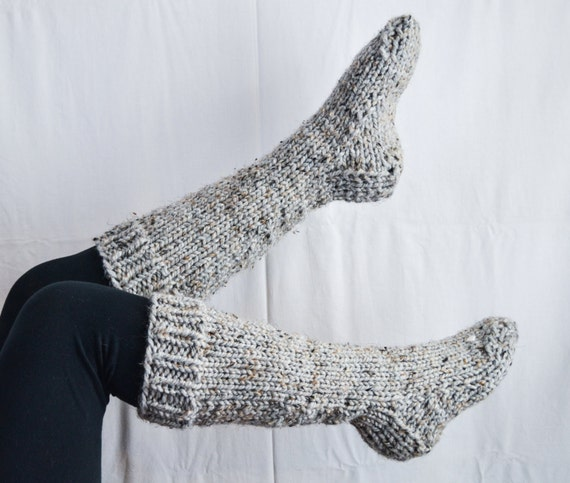 Knitting Pattern Chunky Bed Socks : Items similar to Chunky knit knee high house wool socks in marble//the CADDO ...