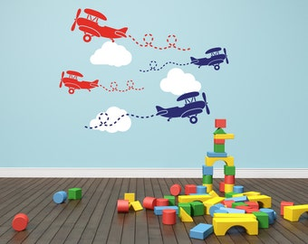 Airplane Decal Clouds Decal Airplanes With Clouds Airplane Wall Decal Cloud Wall Decal - Nursery Decor Wall Decal