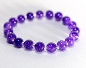 purple bracelet, silver and purple crackle glass bracelet, uk jewellery
