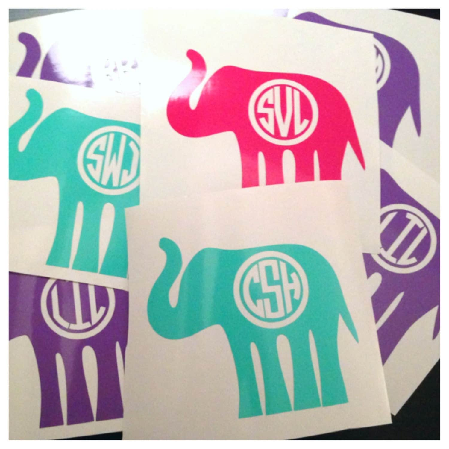 Monogrammed Elephant Decal With Cut Out Initials