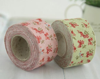 1.4 inch Floral Cotton Bias Tape in Pink or Green 10 Yards 50299