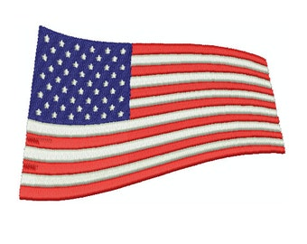 Machine Embroidery Design Instant Download - Wavy American Flag 1