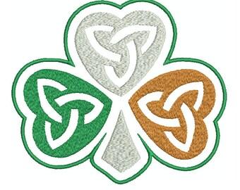 Machine Embroidery Design Instant Download - Irish Flag Celtic Knotwork Shamrock 1