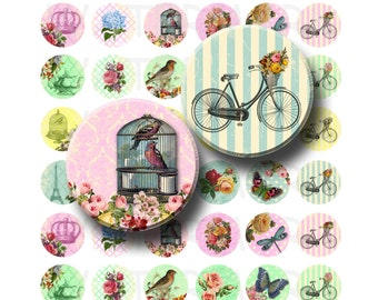 Sassy and Chic - Digital Collage Sheet  - 1 inch Round Circles - INSTANT DOWNLOAD