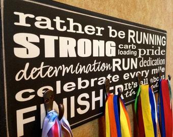 Gifts for Runners  - Marathon, Half Marathon, TRI, 10K Running Medal Holder - Running Subway Sign - Large