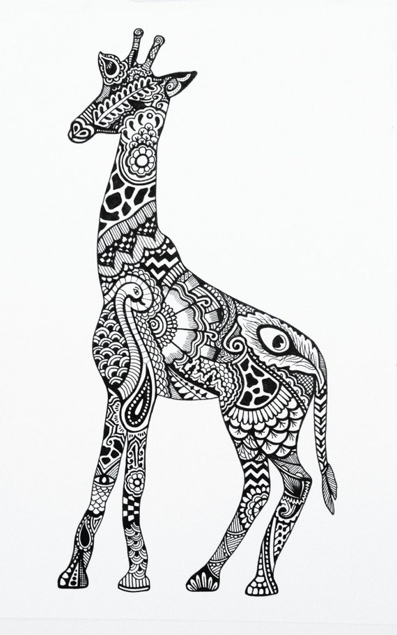 Henna Animals Coloring Pages : Items similar to henna giraffe print on etsy