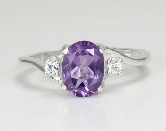 Sterling Silver Natural Amethyst Ring with Sapphire Accents / Natural Amethyst Silver Gemstone Ring February Birthstone