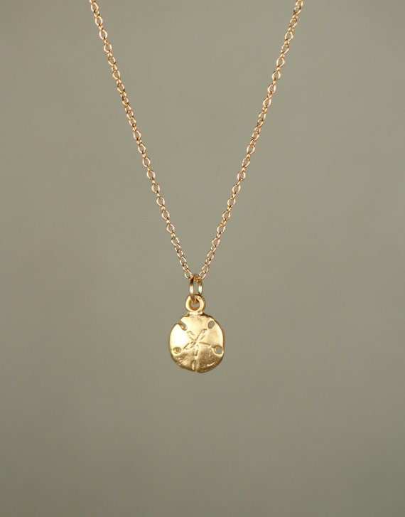 Gold Sand Dollar Necklace Delicate Necklace A Tiny 22k