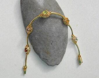 Vintage gemstone bracelet Marked RINC Gold Plated bracelet with gemstones Free USA Shipping