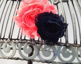 Coral and navy blue hair clip, coral hair clip, navy hair clip, girls hair flower, flower hair clip, hair clip hair accessory