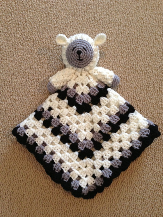 Knitting Pattern For Lovey Blanket : PATTERN for Crochet Sleepy Lamb Lovey aka Blanket Buddy