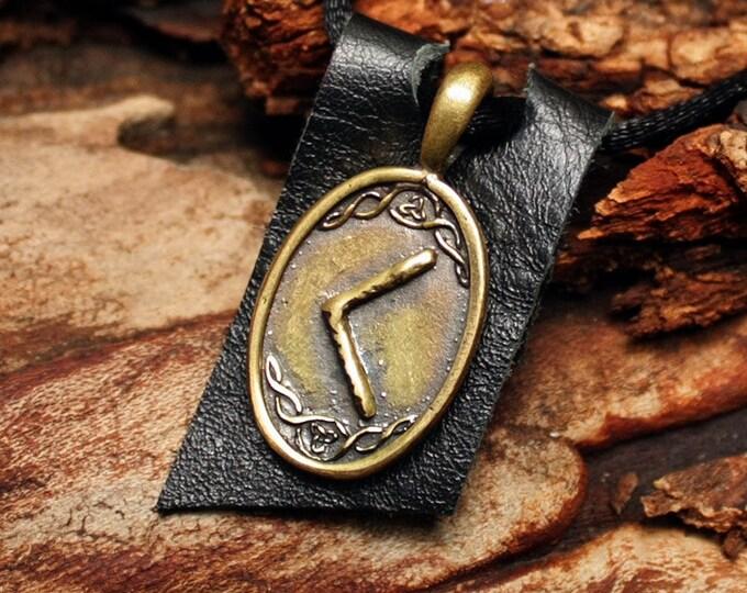 Bronze Kenaz Kaunan Rune Yggdrasil Viking Amulet Runic Nordic Pendant Talisman Necklace