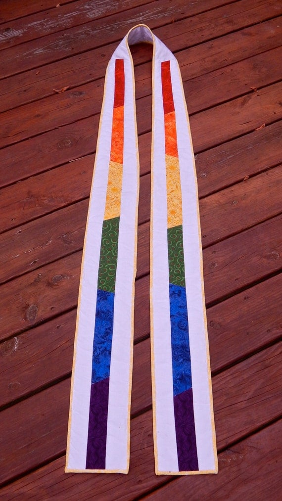 Clergy Stole Rainbow White Long Quilted Stole