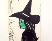 Wicked Witch of the West Wizard of Oz Halloween Linoleum Cut Relief Printmaking Handmade Hand Printed