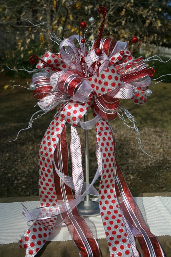 christmas tree topper bow topper ribbon topper silver and. Black Bedroom Furniture Sets. Home Design Ideas