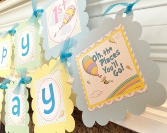 PARTY PACK SPECIAL - Oh The Places You'll Go Inspired Happy Birthday Collection -Pastel Purple Chevron Green Stripes Yellow & Blue Accents
