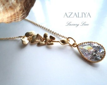 Magnolia Princess Bridal Necklace with Zirconia Crystal in Gold. April Birthstone. Azaliya Luxury Line. Bridal, Bridesmaids Necklace. Gift.