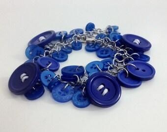 Blue Buttons Bracelet, Unique Statement Bracelet B03