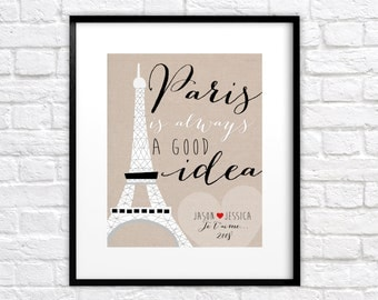 Custom Gift for Paris Lover -  Personalized Art Print, Wedding Gift, Bridal Shower Gift, Engagement in Paris, Eiffel Tower, Je Taime
