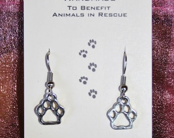 Tiny Silver Paw Print Charm Earrings Benefits Animal Rescue Pet Cat Dog Lover Pawprint Adoption Paws Prints Dogs Cats Foster Pawprints Adopt