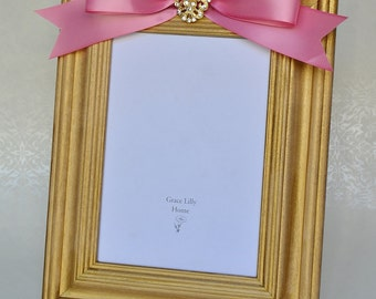 Mother's Day Gift Pink Picture Frame with Bow and Brooch Rhinestone Jewel - CHOOSE your Size 4x6 or 5x7