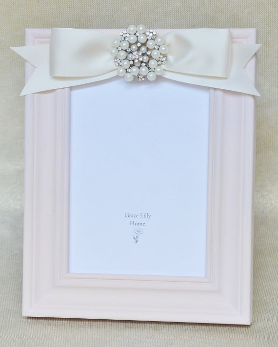 baby shower gift picture frame girl embellished bow pearls choose your
