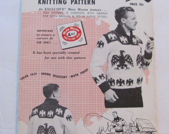 Mary Maxim 438, Indian Eagle Graph Style Cardigan Knitting Pattern, Sizes 38 to 44