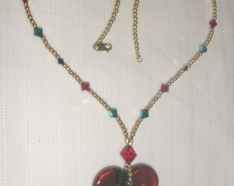 Heart Shaped Crystal and Gold Necklace