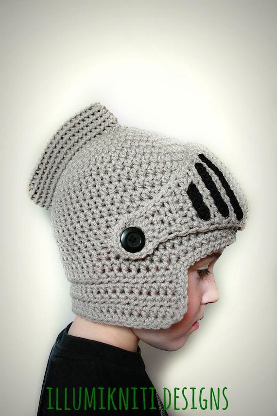 Crochet Knight Helmet : Knights Helmet Crochet Hat - Kids Knight Crochet Hat - Adult Knight ...