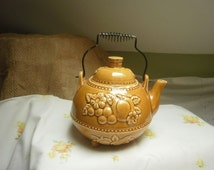 Gold Teapot with Fruit Made in Japan Wire Handle