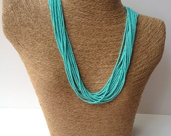 Turquoise necklace, blue necklace, teal necklace, statement necklace, boho, multistrand,beaded necklace, aqua necklace, turquoise