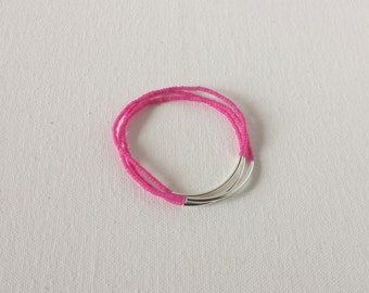 Set of 3 Hot Pink bracelet,noodle bracelet,stretchy bracelet,minimalist bracelet,seed bead,minimalist jewelry,dainty,stacking,bridesmaid