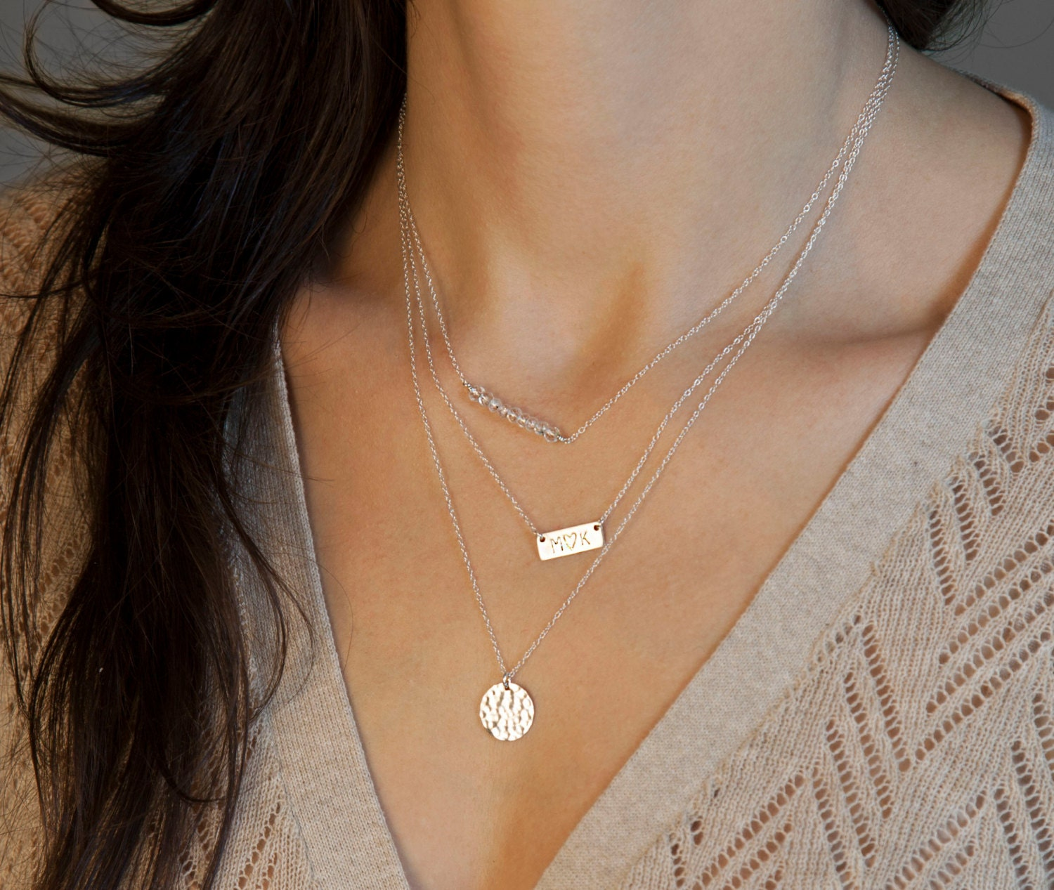 silver layered and initial necklaces name