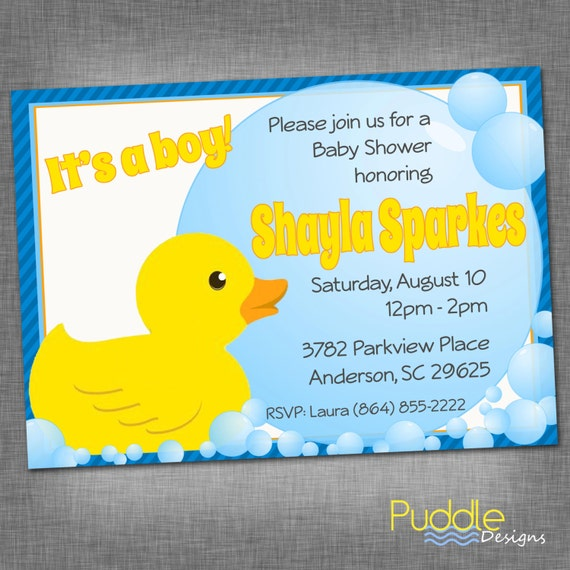 items similar to rubber ducky baby shower invitation on etsy