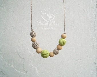 Linen Teething Necklace, Grey & Neon Yellow Modern Crochet ball Nursing Necklace, Eco friendly Boho Necklace, Lime +Grey 2016 Trendy Jewelry