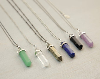 Crystal Stone Necklace, Pendant Necklace / Natural Crystal Long Necklace, Custom Chain / CRYSTAL POINT CHAKRA Necklace by Bohemian Fringe