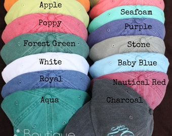 SALE!! Monogrammed Baseball Cap for Ladies - Pigment Dyed, Monogram Baseball Hat, Monogram Hat, Fast Ship