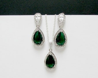 wedding emerald set , cz bridal emerald earrings , emerald bridal earrings , sterling emerald necklace , bridesmaids earrings , weddings