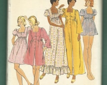 Vintage 1970's Butterick 3759 Empire Waist Baby Doll & Full Length Nightgowns and Matching Robes Size 14 UNCUT