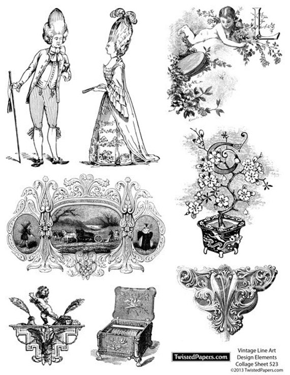 Line Art Digital : Digital line art vintage illustrations clip decorative