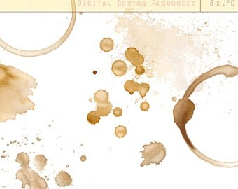 Coffee Stains - Digital Design Resource - Clip Art, free commercial use, cup ring, vintage