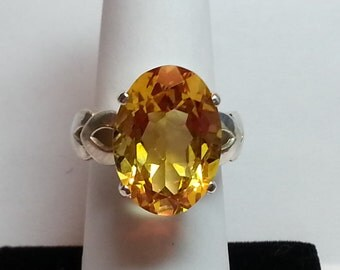 Natural Citrine Sterling Silver Ring 10.82 Carat Oval