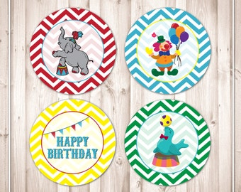 Instant Download- Big Top Vintage Circus Birthday Cupcake Toppers