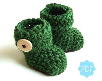 Instant Download - Crochet Pattern - Cozy Green Baby Booties - PDF ebook No. 31