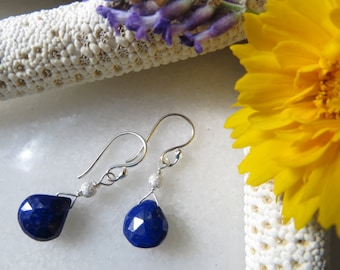 Lapis Lazuli Earrings, Faceted Lapis Earrings, Sterling Silver Earrings, Small Drop Dangle Earrings,  Cobalt Blue Faceted Teardrop Earrings